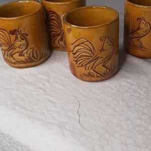 Vintage Redware folk Mugs x 4